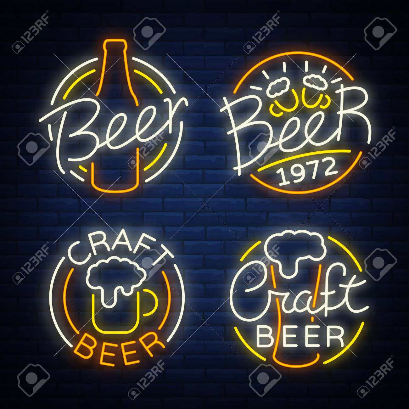 Set of beer logo, neon signs, logos of emblem in neon style, vector illustration. For the beer house bar pub, brewery. Night beer advertising, neon glowing bright sign. - 88551920