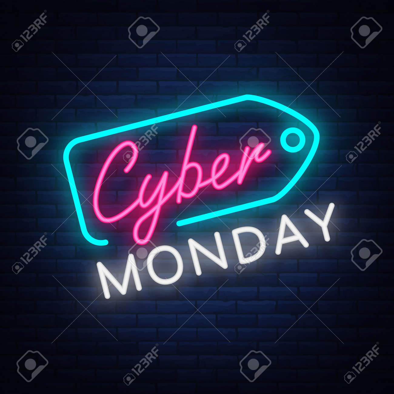 Cyber Monday concept banner in fashionable neon style, luminous signboard, nightly advertising advertisement of sales rebates of cyber Monday. Vector illustration for your projects. - 88680739