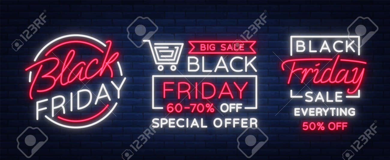 Neon Signs For Sale >> Set Of Neon Signs Posters Brochures On The Black Friday Sale