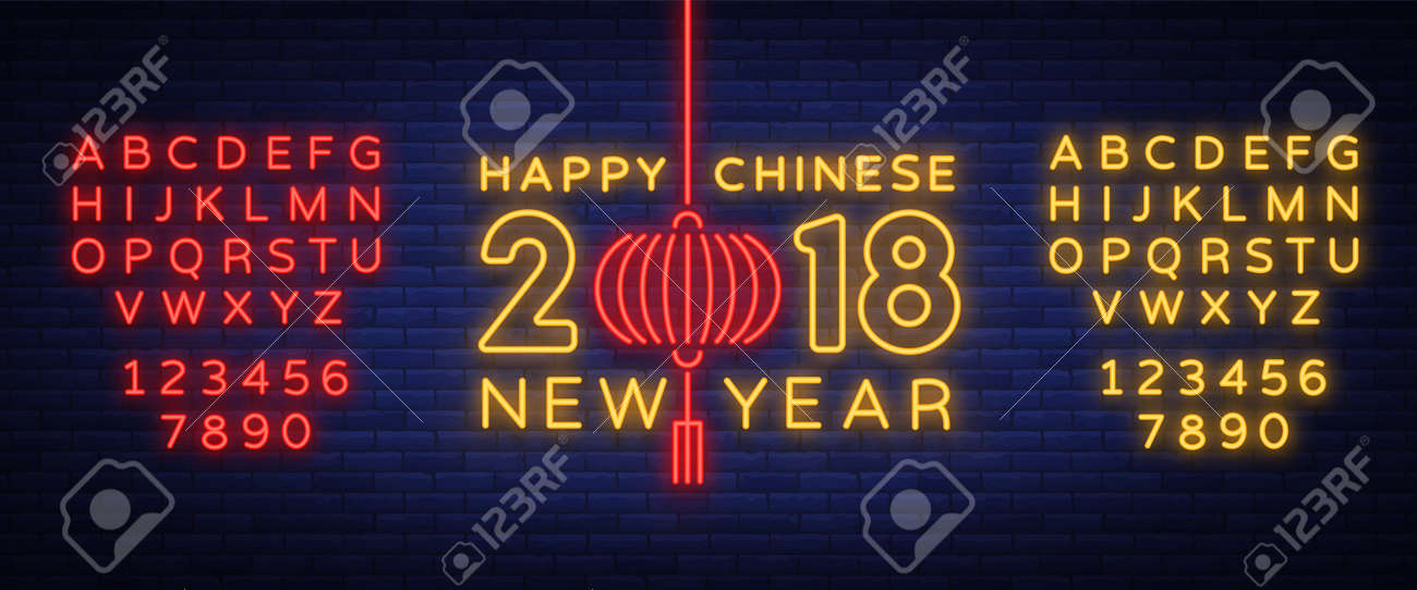 happy chinese new year 2018 sign in neon style night flyer advertising