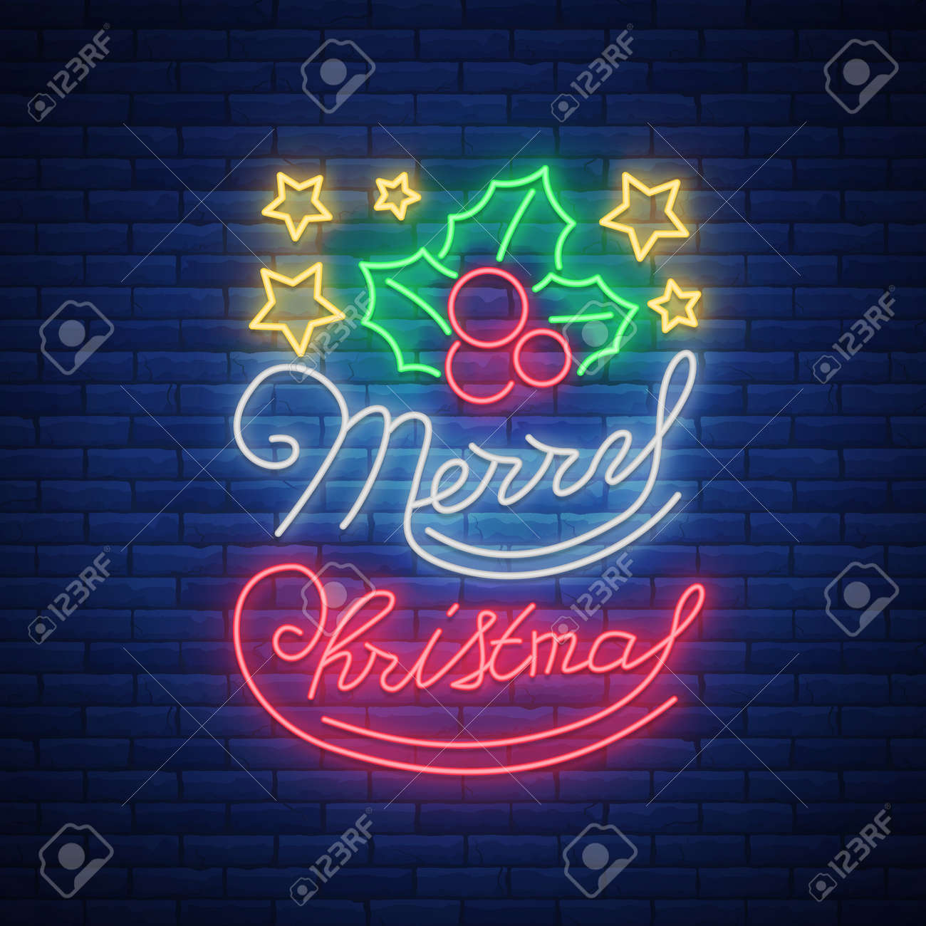 Christmas Done Bright.Merry Christmas Welcome Card Done In Neon Style Isolated Neon