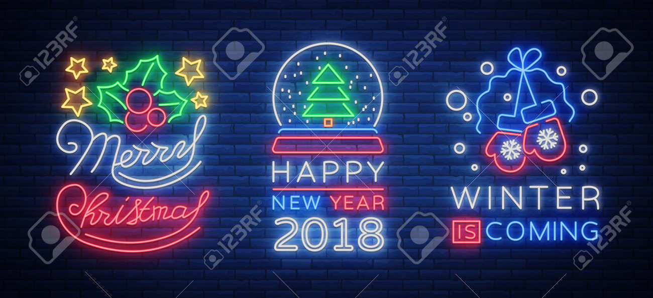 Merry Christmas And Happy New Year 2018 Collection Of Neon Signs ...