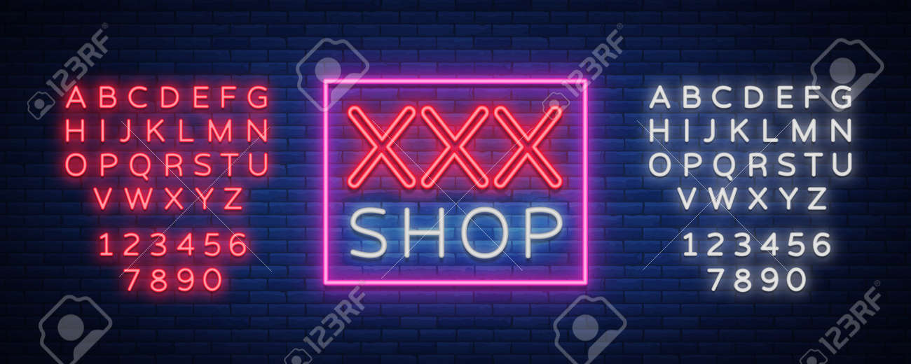 Adult Shop Logo Night Sign In Neon Style Neon Sign A Symbol
