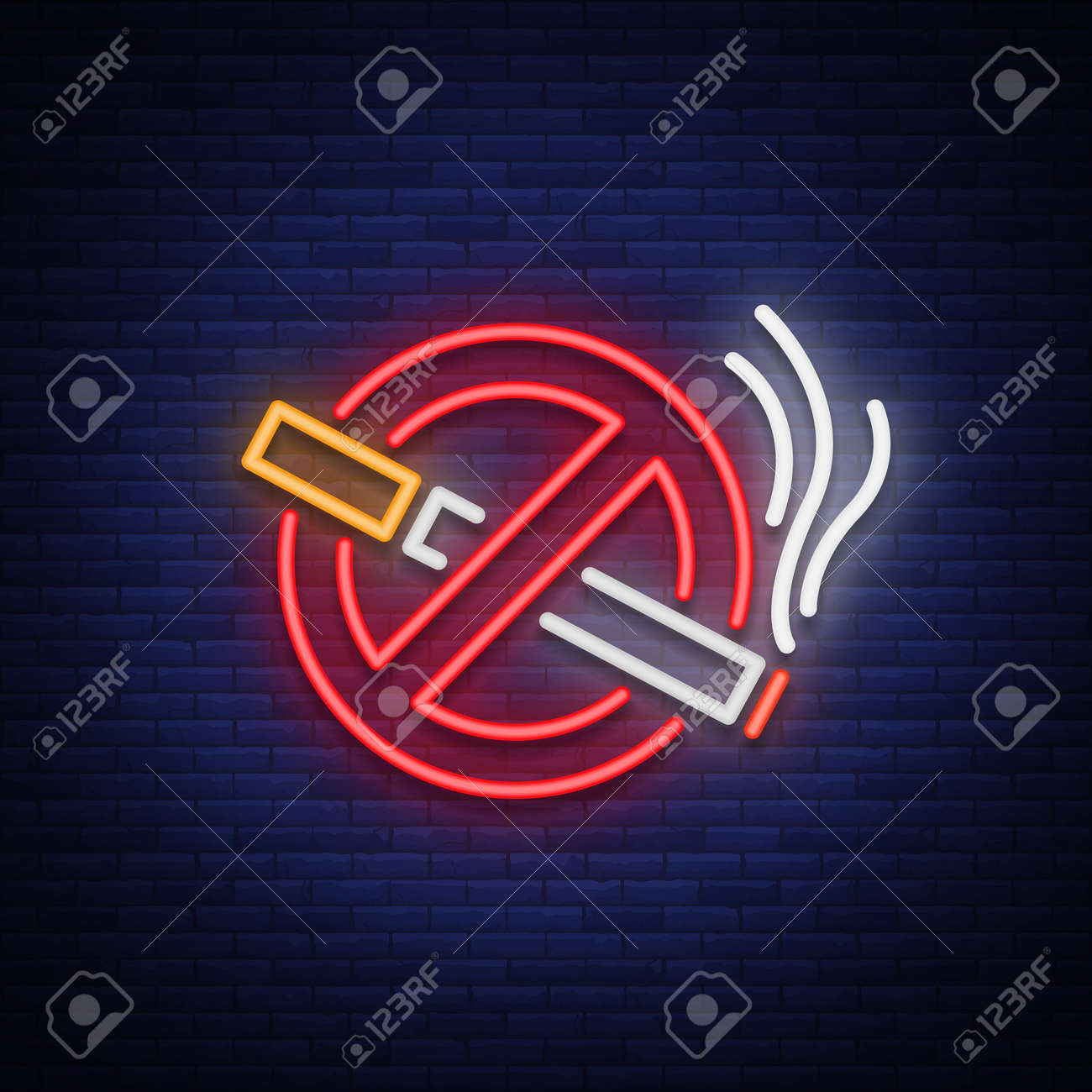 No smoking vector neon sign. Bright symbol, icon, luminous warning sign of smoking in an unauthorized place. - 91550522