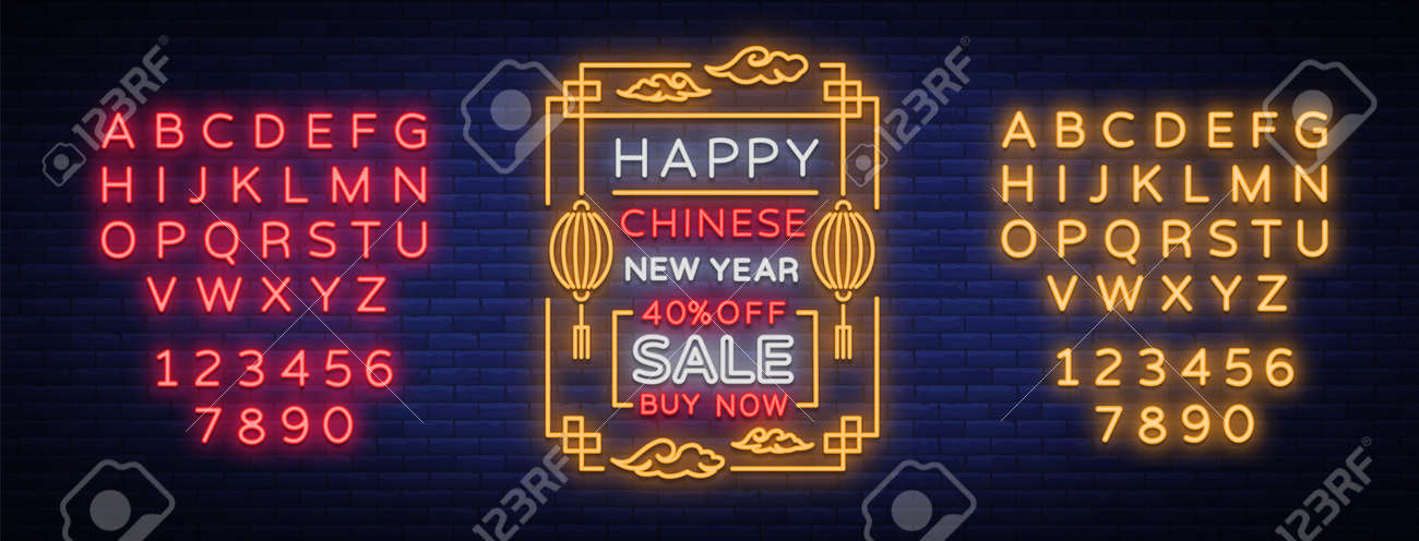 new chinese year sales of poster in a neon style vector illustration neon sign
