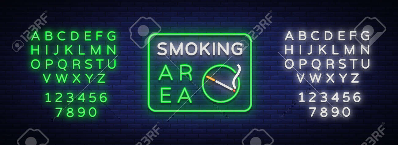 Smoking Area Is A Vector Neon Sign Neon Symbol A Luminous Sign