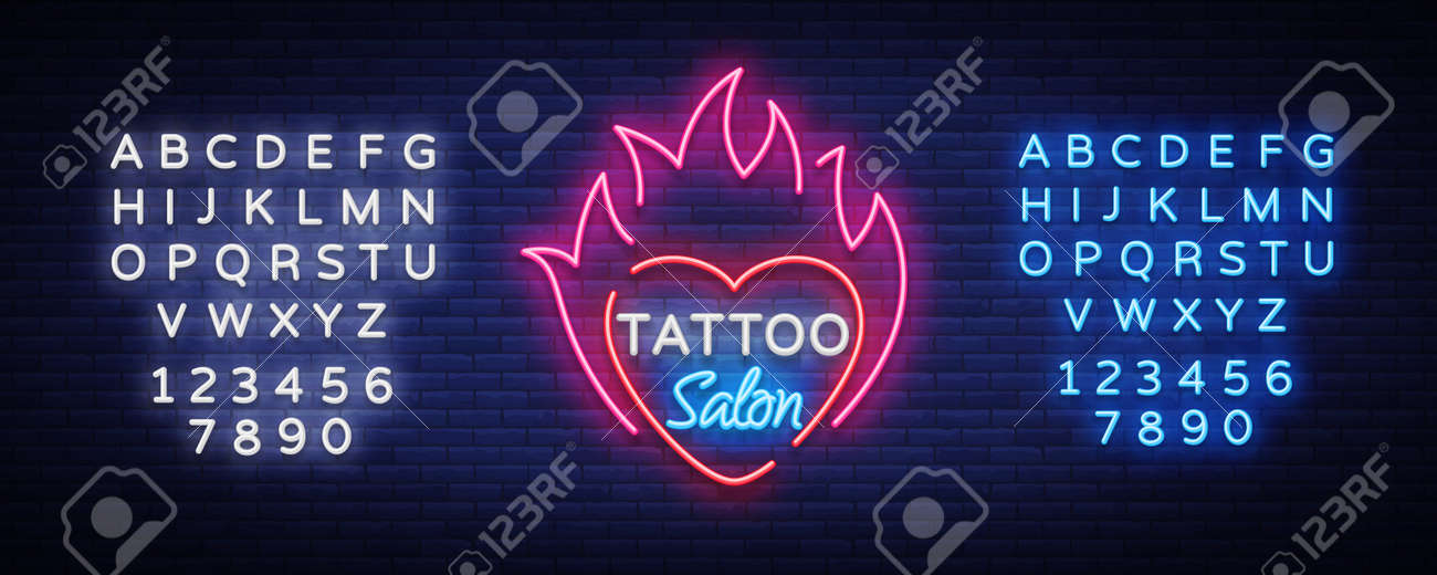 Tattoo Salon Symbol Vector Neon Sign A Symbol Of Heart In The