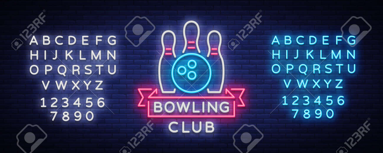 Bowling is a neon sign. Symbol emblem, Neon style icon, Luminous advertising banner, bright billboard, Design template for the Bowling Club, Tournaments. Vector illustration. Editing text neon sign. - 93872709