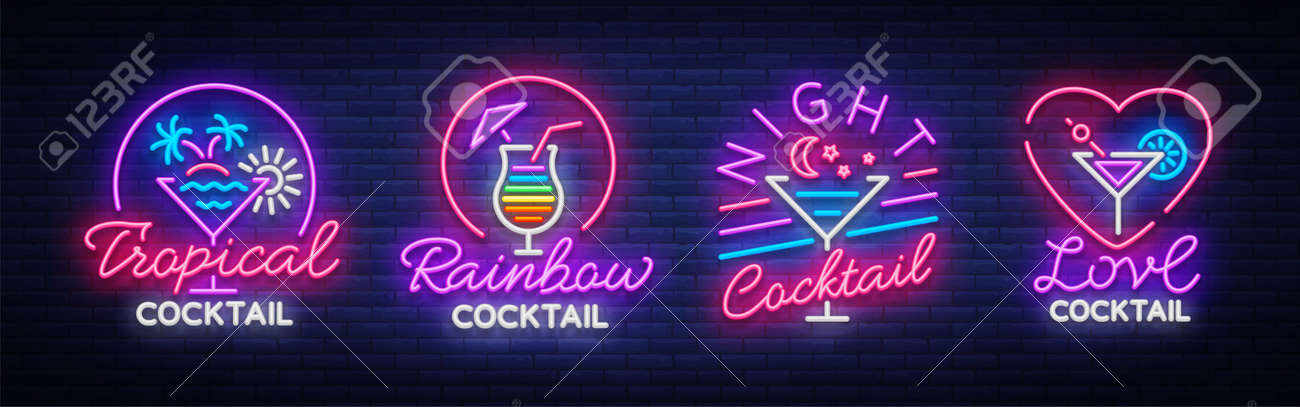 Cocktail collection logos in neon style. Collection of neon signs, Design template on the theme of drinks, alcoholic beverages. Vector illustration. - 96078267