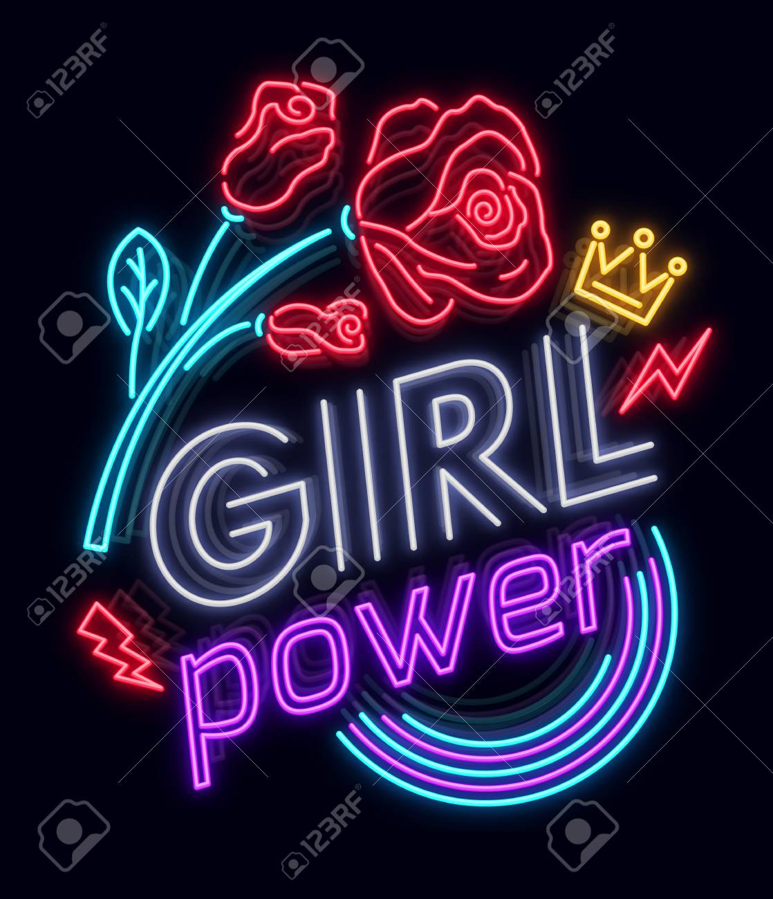 Rock print and slogan vector. Girl Power For T-shirt or other purposes. Symbol of feminism for printing in a neon style with flowers . Womens fashion slogan - 96212942