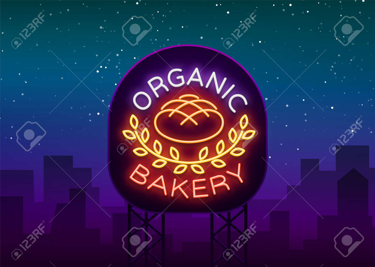 Bakery organic logo, fresh bread, loaf. Vector illustration on bakery, baking, confectionery. Natural baking. Neon sign, vivid advertising, luminous symbol for your projects. - 97575720