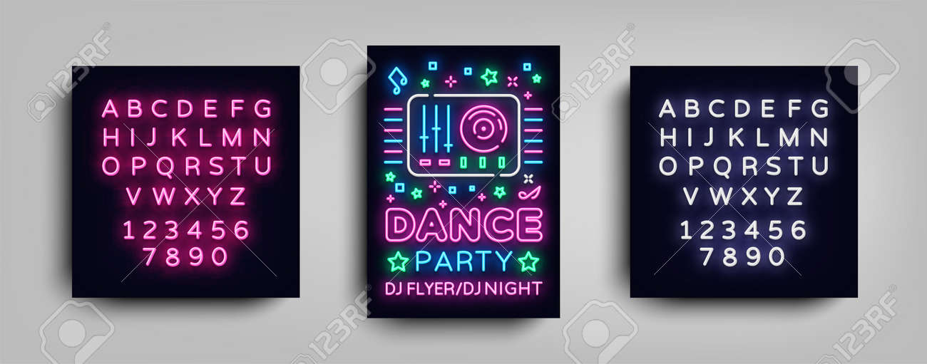 Dance party poster design template in neon style  Night party