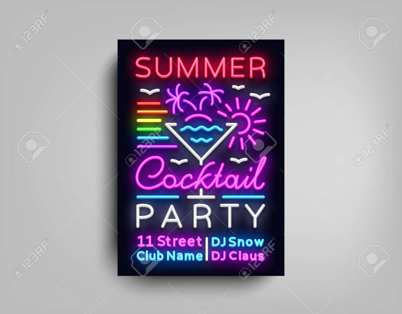 Cocktail Party poster neon  Flyer template design in neon style