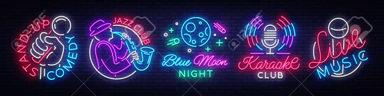 Set neon signs symbols  Live Music, Jazz Music, Blue Moon Night