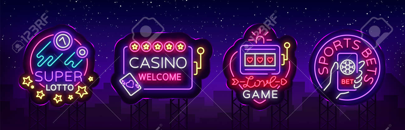 Casino collection of neon signs. Design template in neon style. Slot Machines, Poker Online Bright Logo Character, Winning Jackpot, Web Banner, Nightly Casino Advertising. Vector. Billboard - 100600837