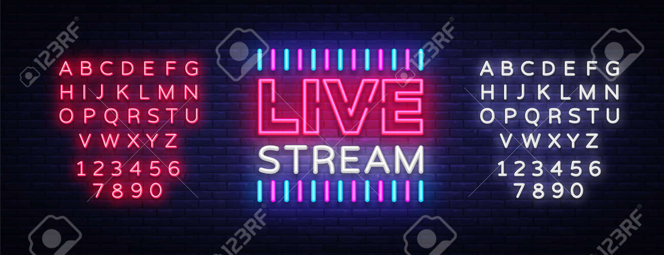 Neon sign live stream design element  Light banner, neon signboard