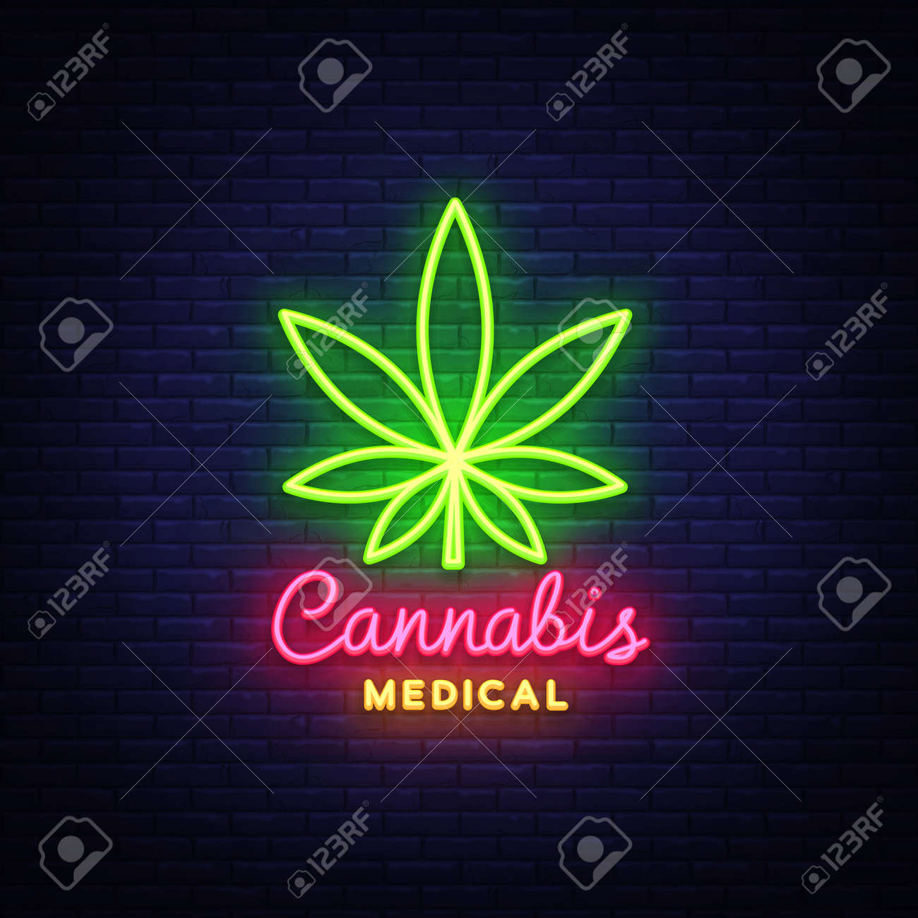 Marijuana Medical Neon Sign And Logo Graphic Template In Modern