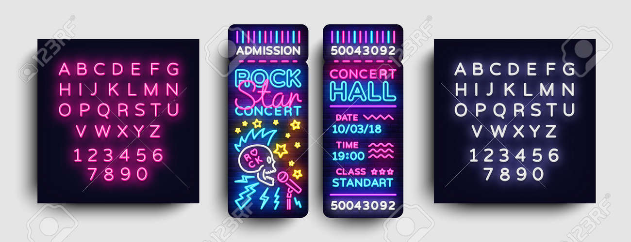 rock concert ticket design template in modern trend style rock
