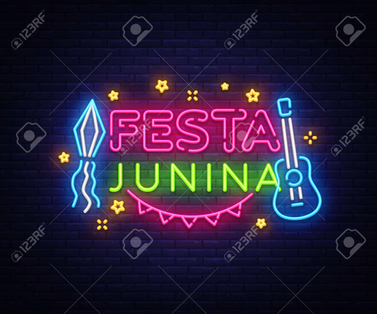 festa junina greeting card design template neon vector modern trend