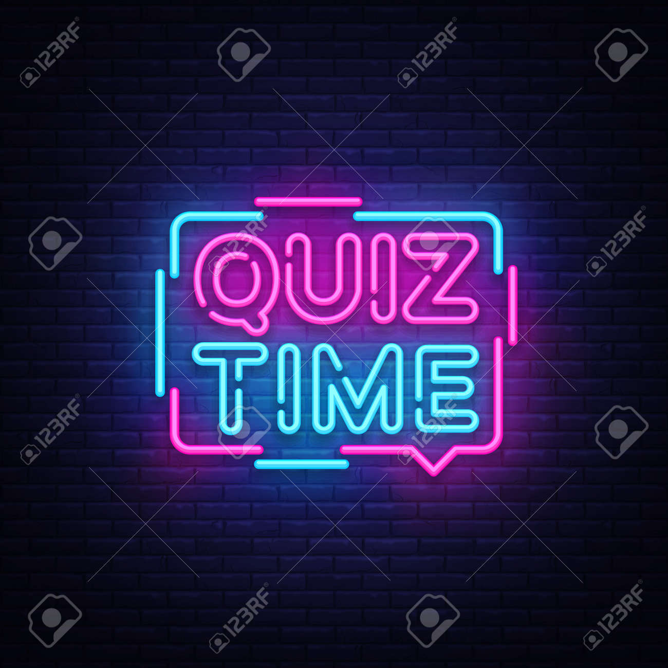 Quiz Time announcement poster neon signboard vector. Pub Quiz vintage styled neon glowing letters shining, Light Banner, Questions team game.Vector illustration - 103260351