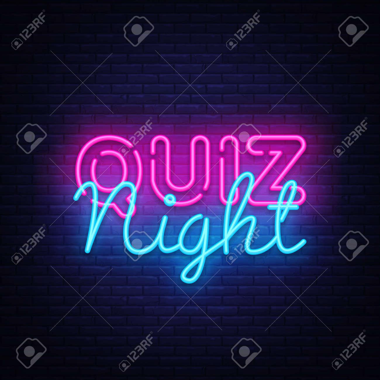 Quiz night announcement poster vector design template. Quiz night neon signboard, light banner. Pub quiz held in pub or bar, night club. Pub team game. Questions game bright retro light sign. Vector - 103259429