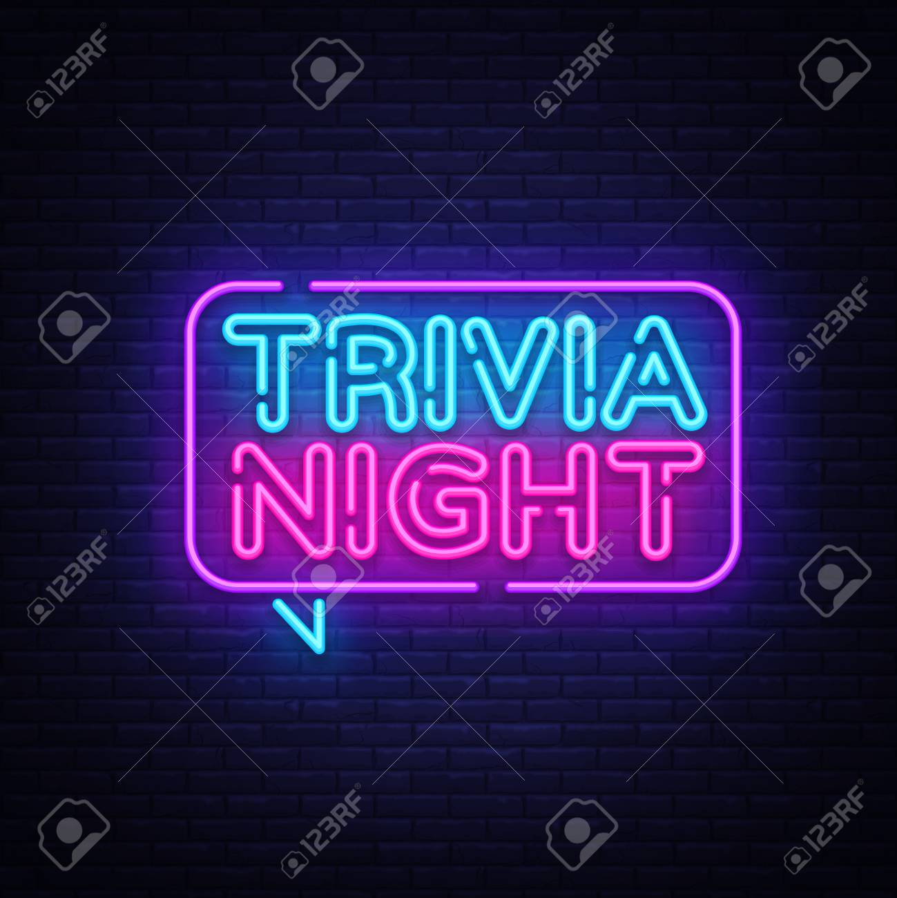 Trivia night announcement neon signboard vector. Light Banner, Design element, Night Neon Advensing. Vector illustration. - 103260263