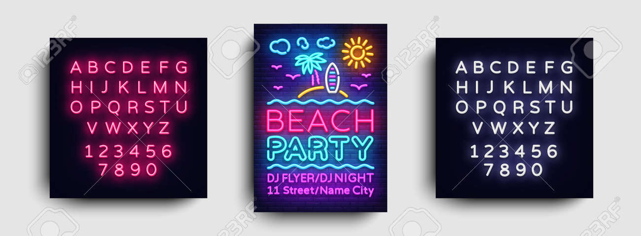 Beach Party Invitation Card Design Template Summer Party Poster