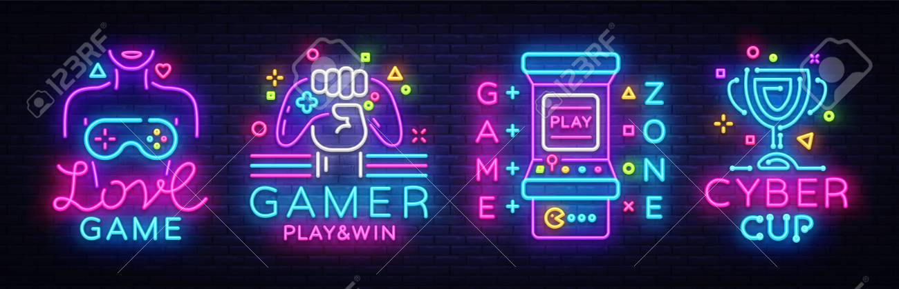 Video Game Neon Sign Collection Vector Conceptual Logos Love Royalty Free Cliparts Vectors And Stock Illustration Image 103865303
