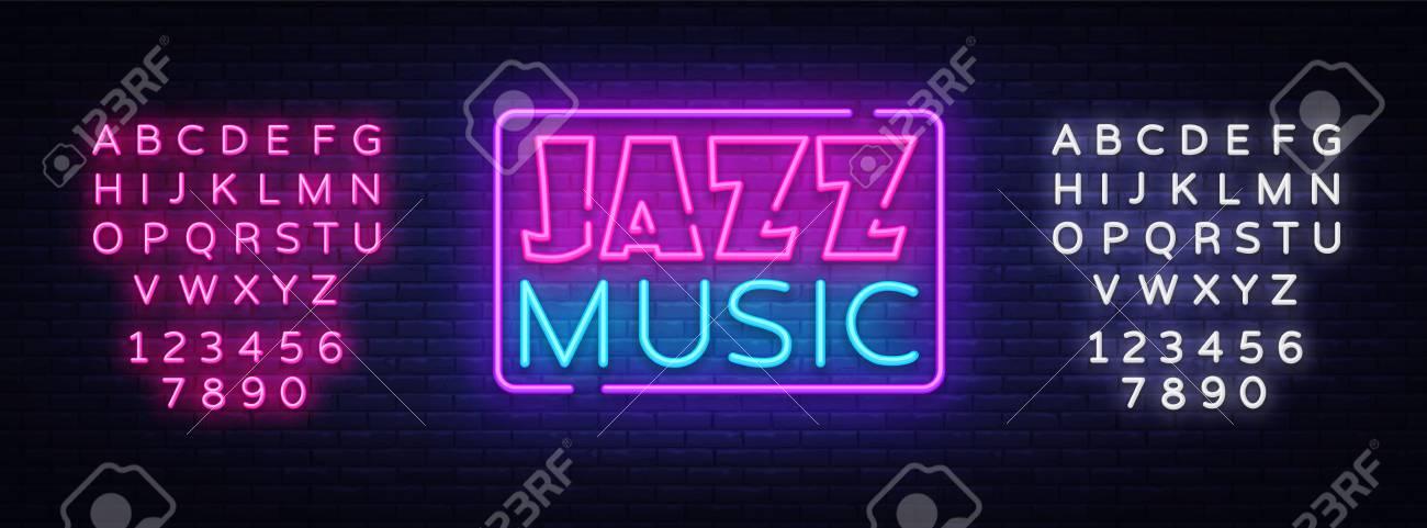 jazz music neon sign vector jazz music design template neon sign