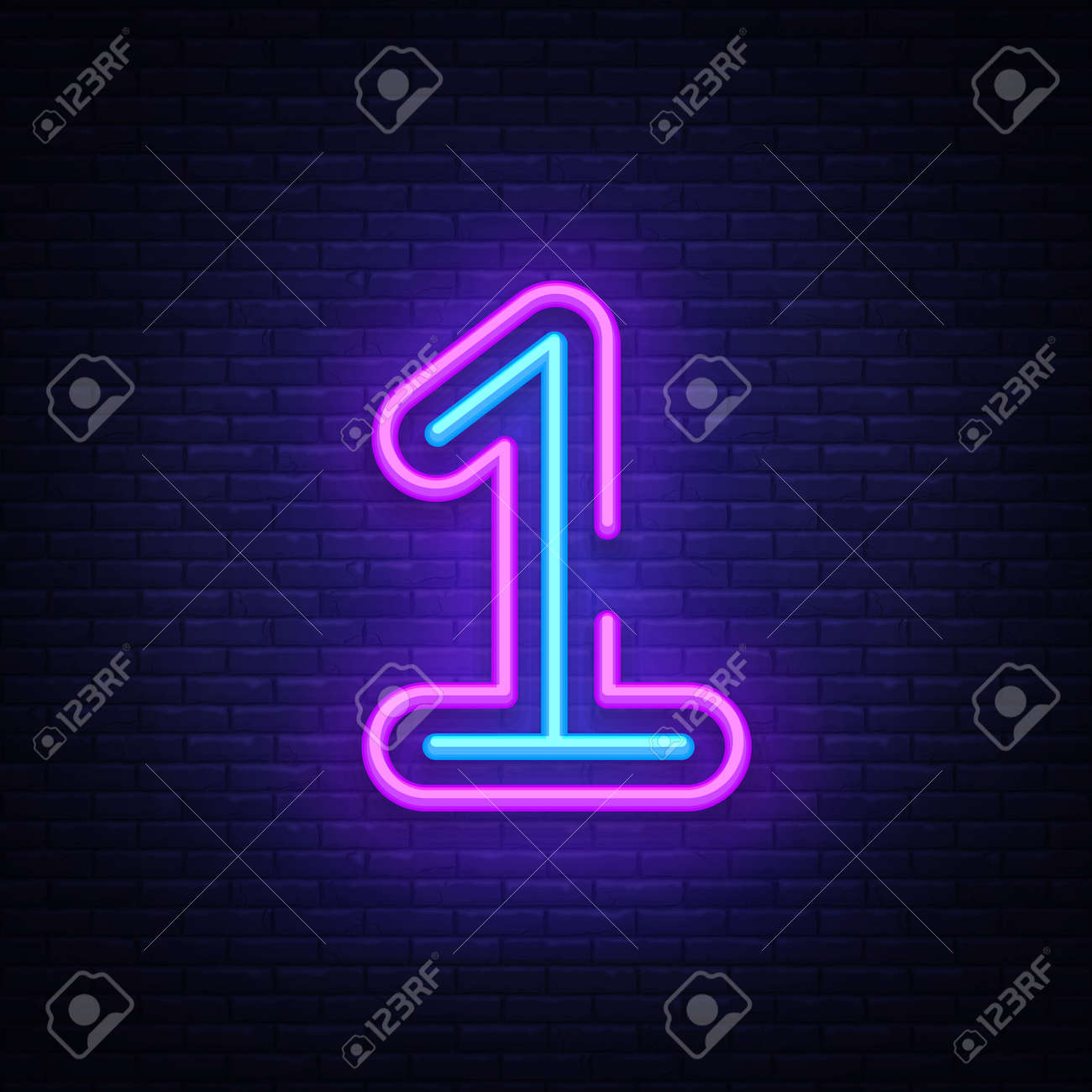 Number One symbol neon sign vector. First, Number One template neon icon, light banner, neon signboard, nightly bright advertising, light inscription. Vector illustration. - 103865599