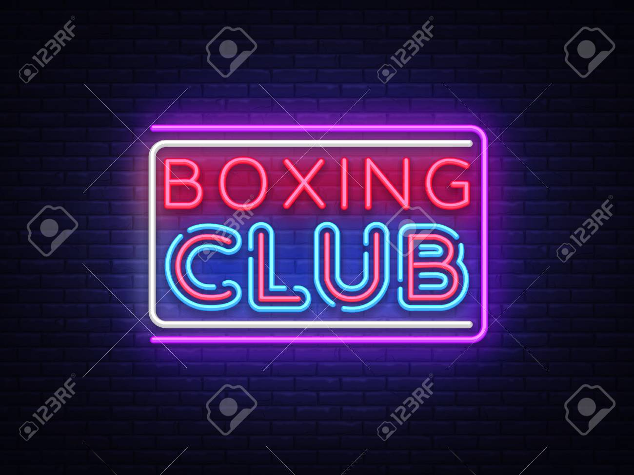 boxing club neon sign vector boxing text design template neon sign