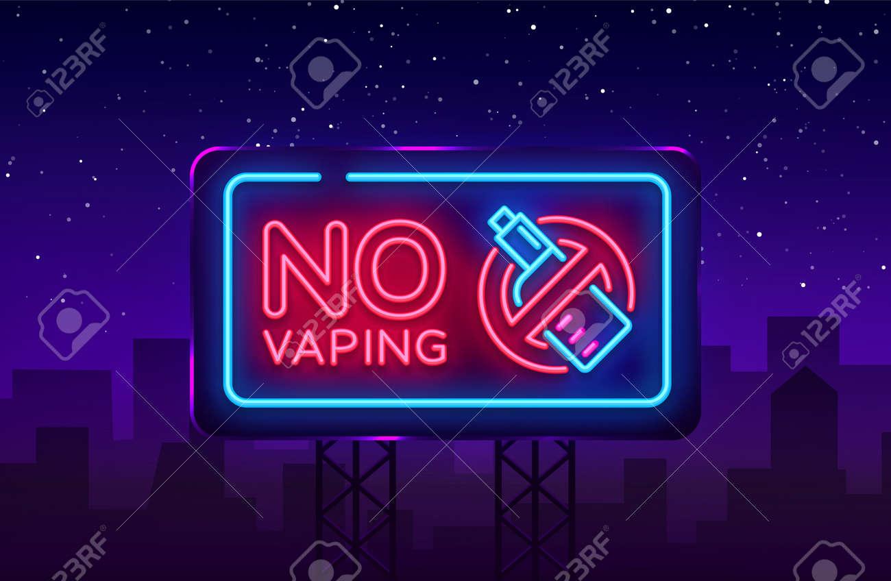 No Vaping neon sign vector template, light banner, bright night illustration, symbol vaping ban, no vaping, electronic cigarette neon. Vector illustration. Billboard. - 104307154