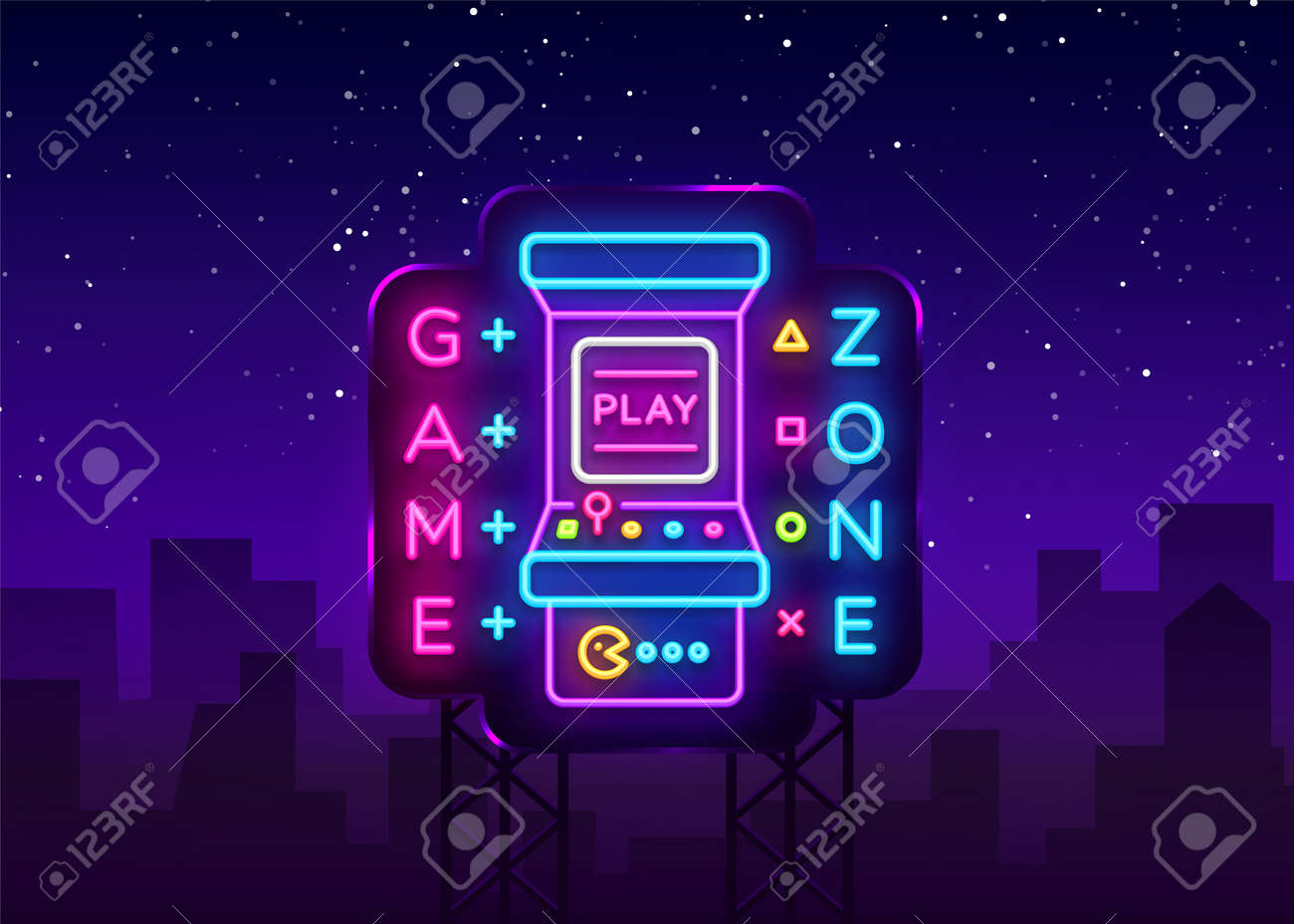 game zone logo vector neon game room neon sign board design