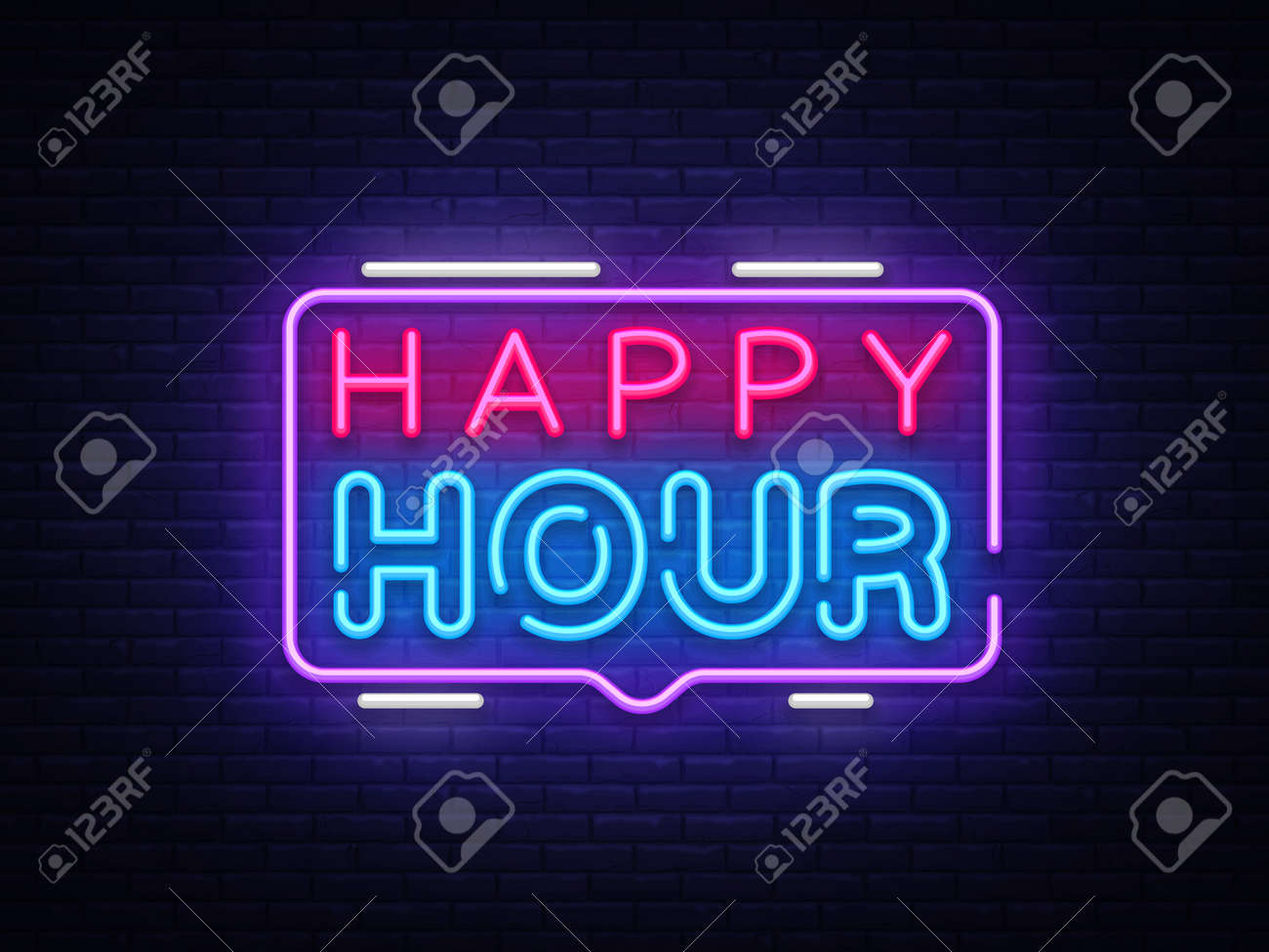 Happy Hour neon sign vector design template. Happy Hour neon logo, light banner design element colorful modern design trend, night bright advertising, brightsign. Vector illustration - 105170317