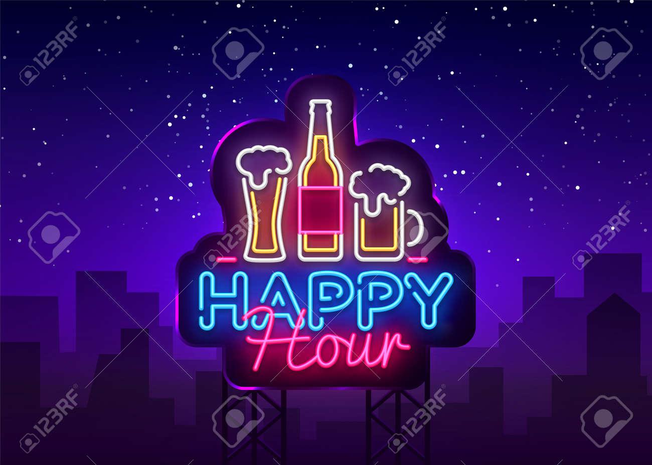 Happy Hour neon sign vector. Happy Hour Design template neon sign, Night Dinner, celebration light banner, neon signboard, nightly bright advertising, light inscription. Vector Billboards. - 112227131
