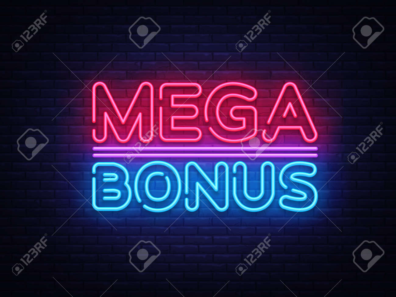 Mega Bonus neon sign vector. Bonus neon text Design template neon sign, light banner, neon signboard, nightly bright advertising, light inscription. Vector Illustration. - 112227134
