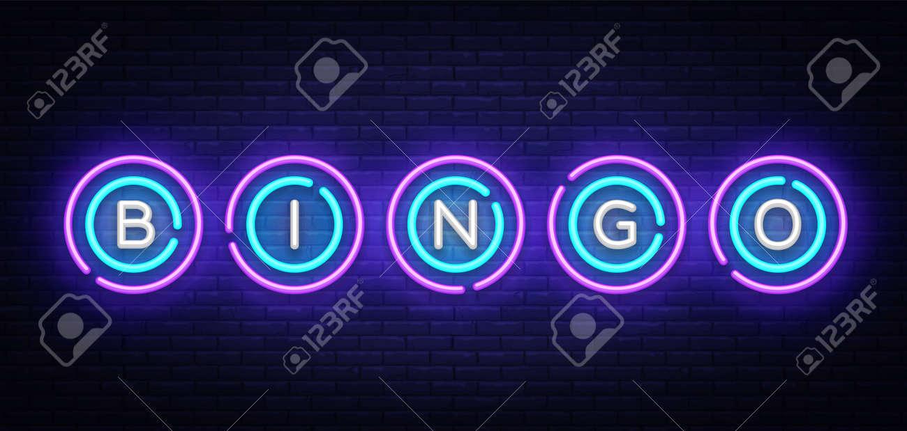 Bingo neon sign vector design template. Lotto symbols neon logo, light banner design element colorful modern design trend, night bright advertising, bright sign. Vector illustration. - 106098523