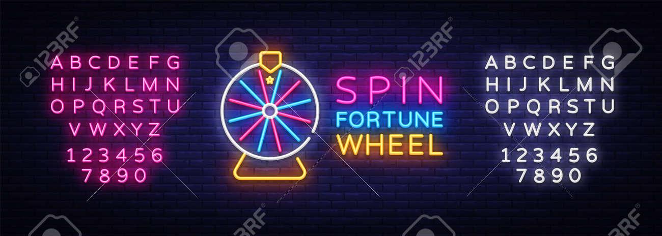 Fortune Wheel Neon Logo Vector. Fortune Wheel neon sign, design template, modern trend design, night neon signboard, night bright advertising, light banner, light art. Vector. Editing text neon sign - 108046084