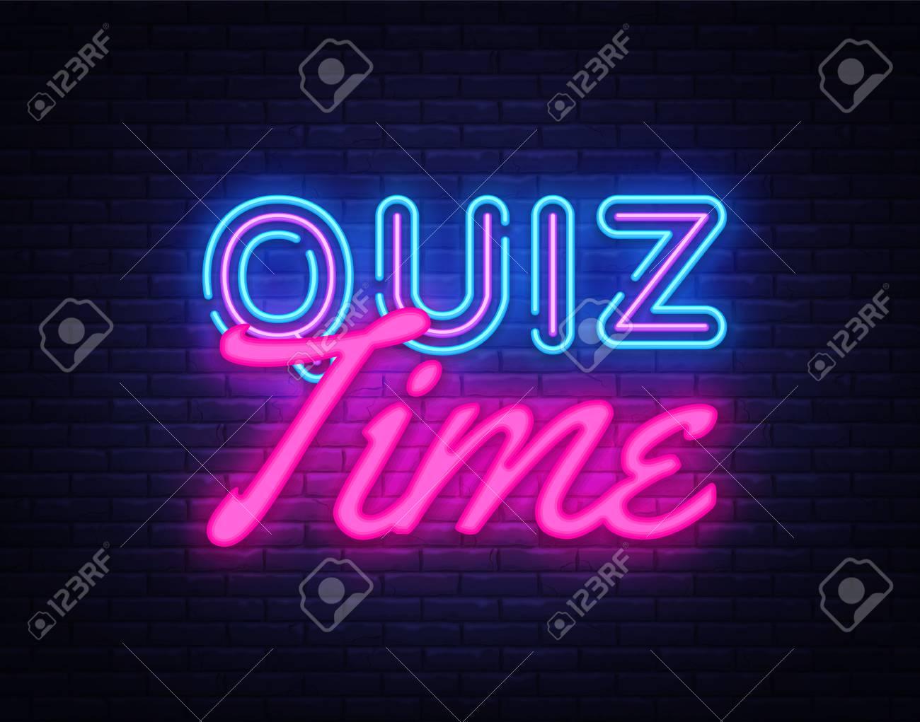 Quiz Time neon sign vector. Quiz Pub Design template neon sign, light banner, neon signboard, nightly bright advertising, light inscription. Vector illustration. - 110272407