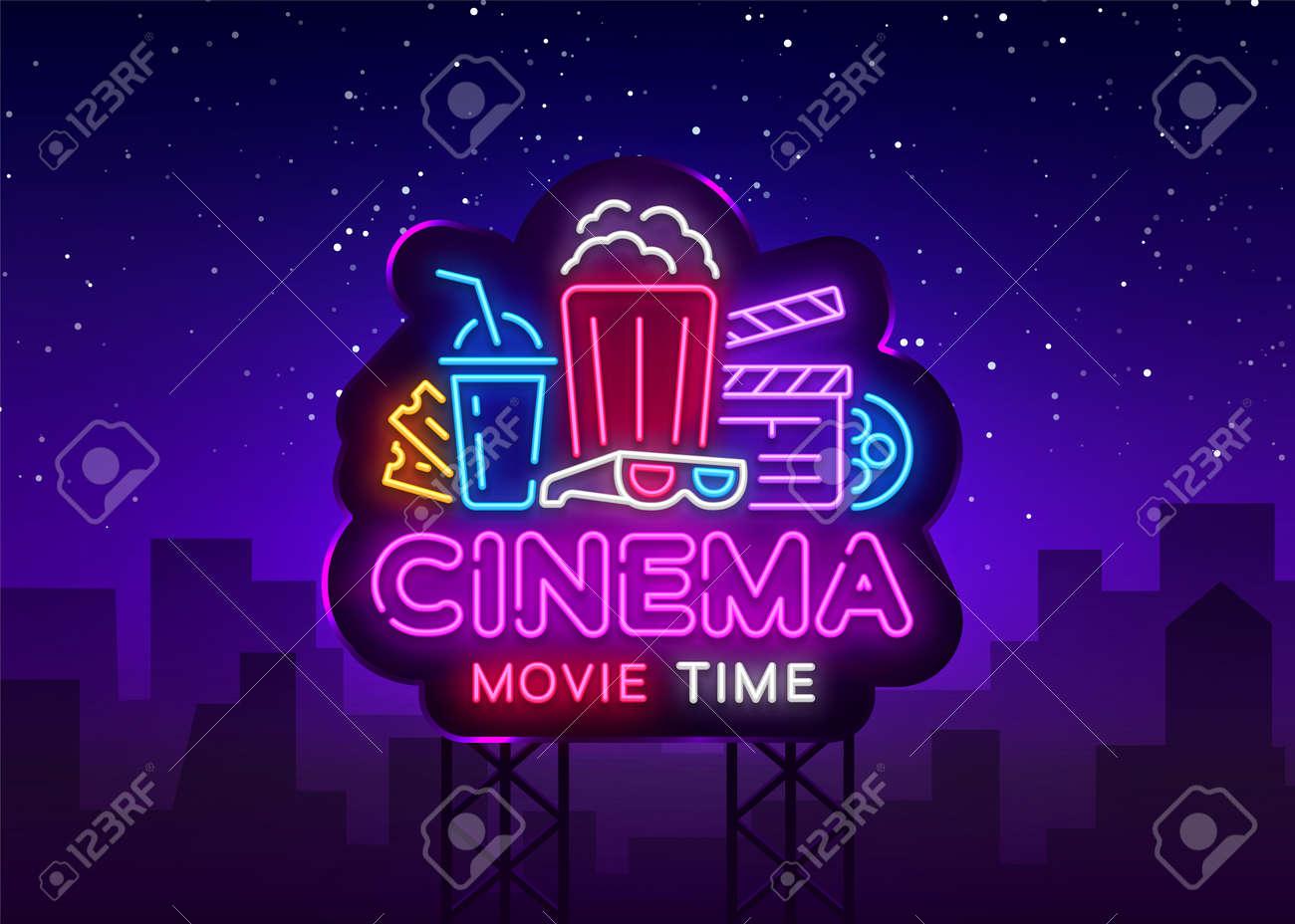 Movie Time Neon Logo Vector. Cinema Night neon sign, design template, modern trend design, night neon signboard, night light advertising, light banner, light art. Vector illustration. Billboard. - 108046191