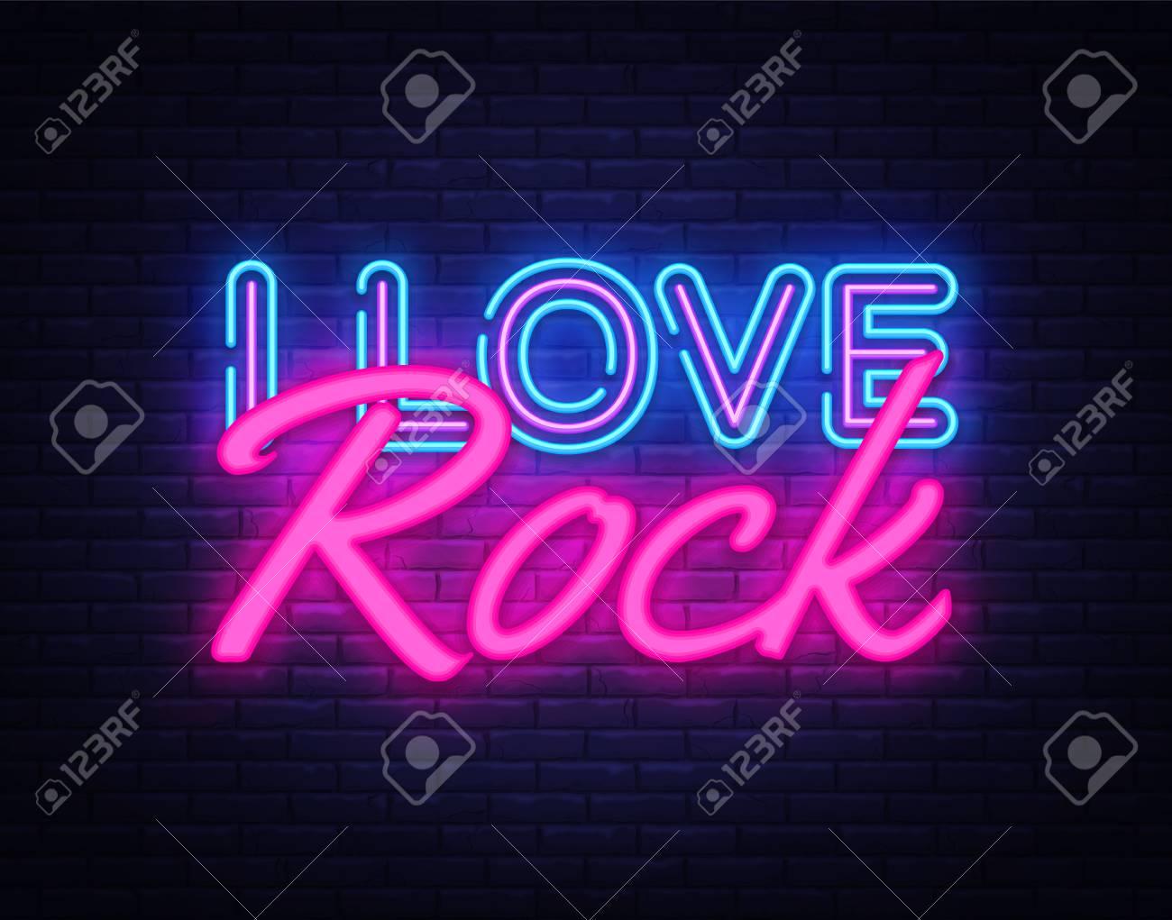 i love rock neon text vector rock music neon sign design template