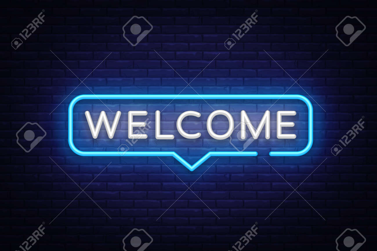 Welcome neon sign design template modern trend design