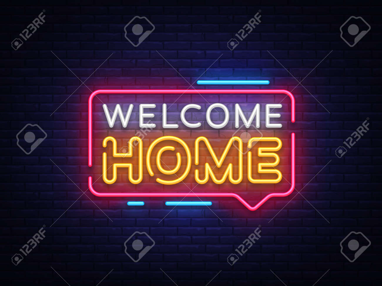 Welcome Home Neon Text Vector. Welcome Home neon sign, design template, modern trend design, night neon signboard, night bright advertising, light banner, light art. Vector illustration. - 109793379