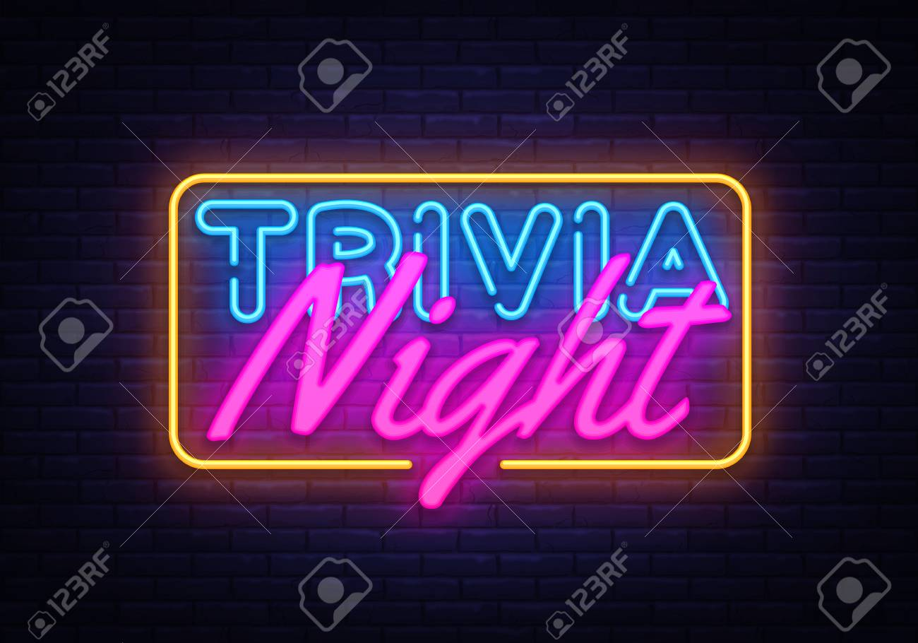 trivia night neon sign vector quiz time design template neon