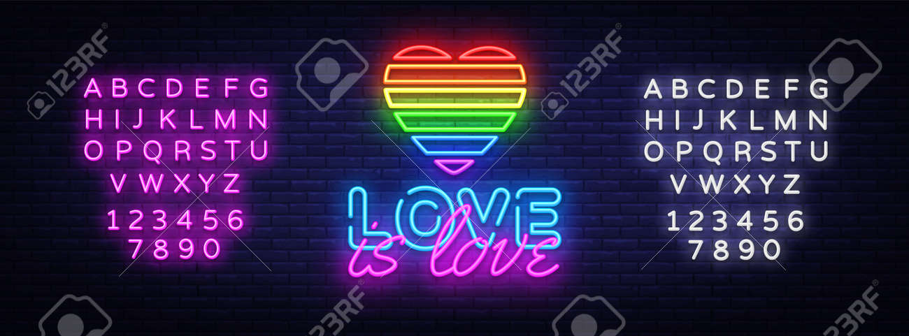 Love is Love neon text vector design template. LGBT neon logo, light banner design element colorful modern design trend, night bright advertising. Vector illustration. Editing text neon sign - 111634166