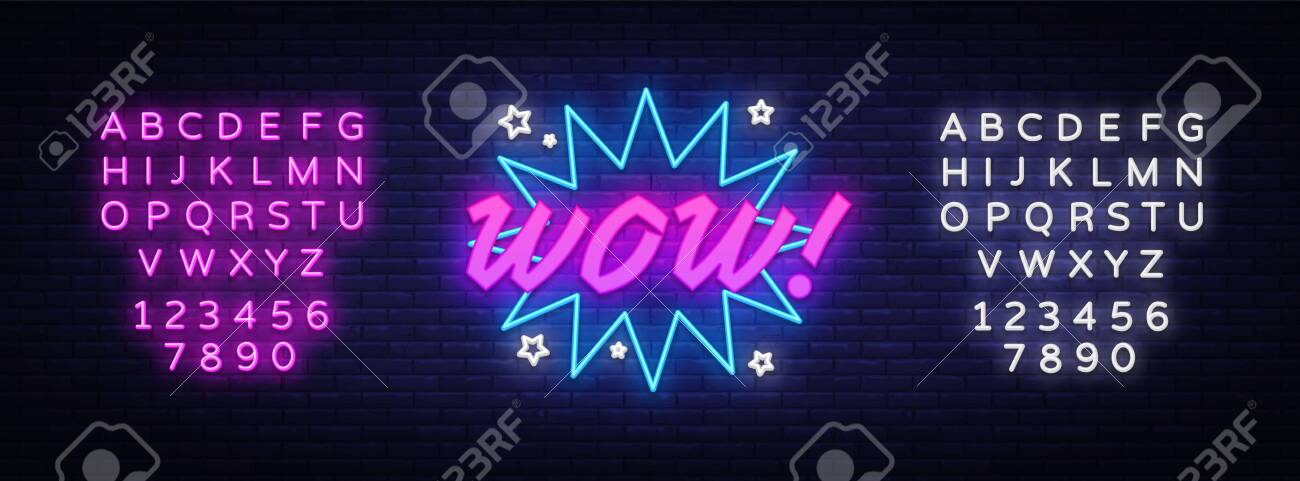 WOW neon sign vector. Comic speech bubble with expression text Wow, Design template neon sign, light banner, neon signboard, light inscription. Vector illustration. Editing text neon sign - 119782773