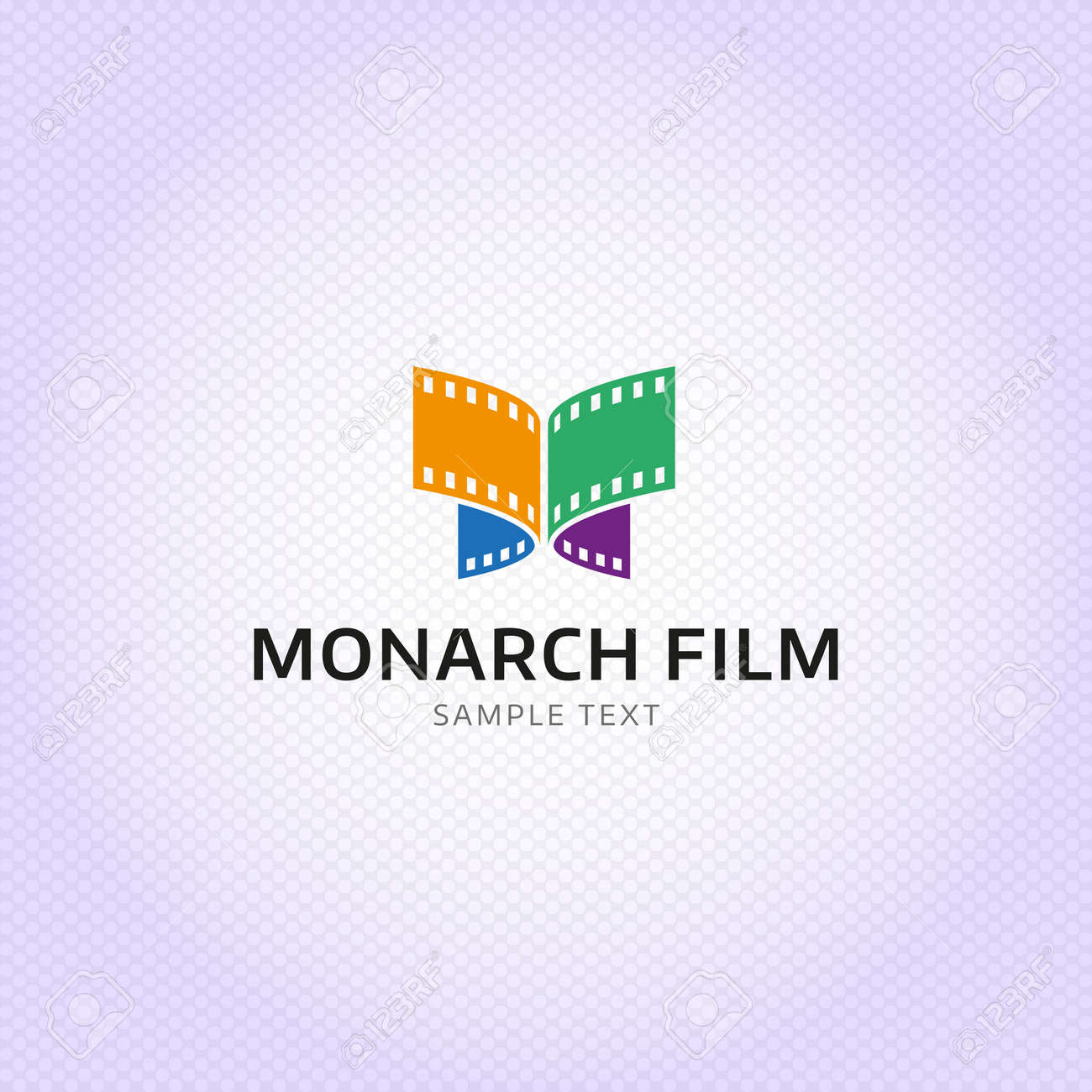 Monarch Film production logo design  Colorful butterfly celluloid