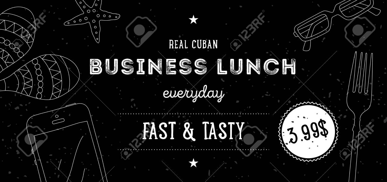business lunch flyer design template vector black and white