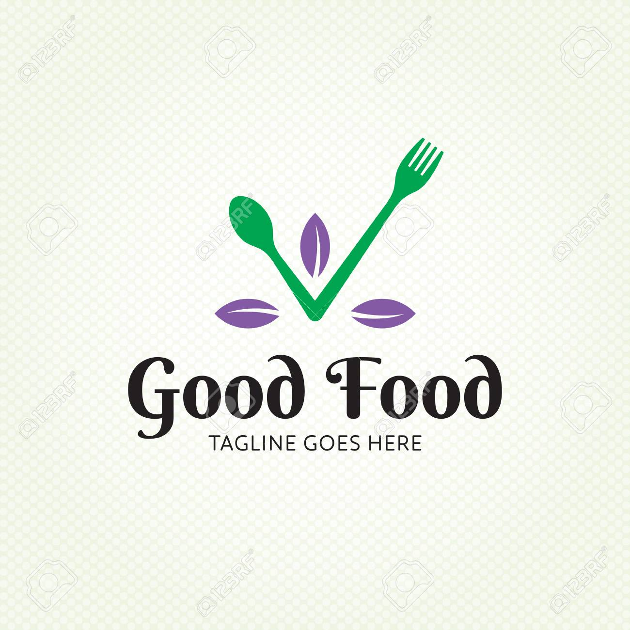 good food healthy logo design template vector spoon and fork