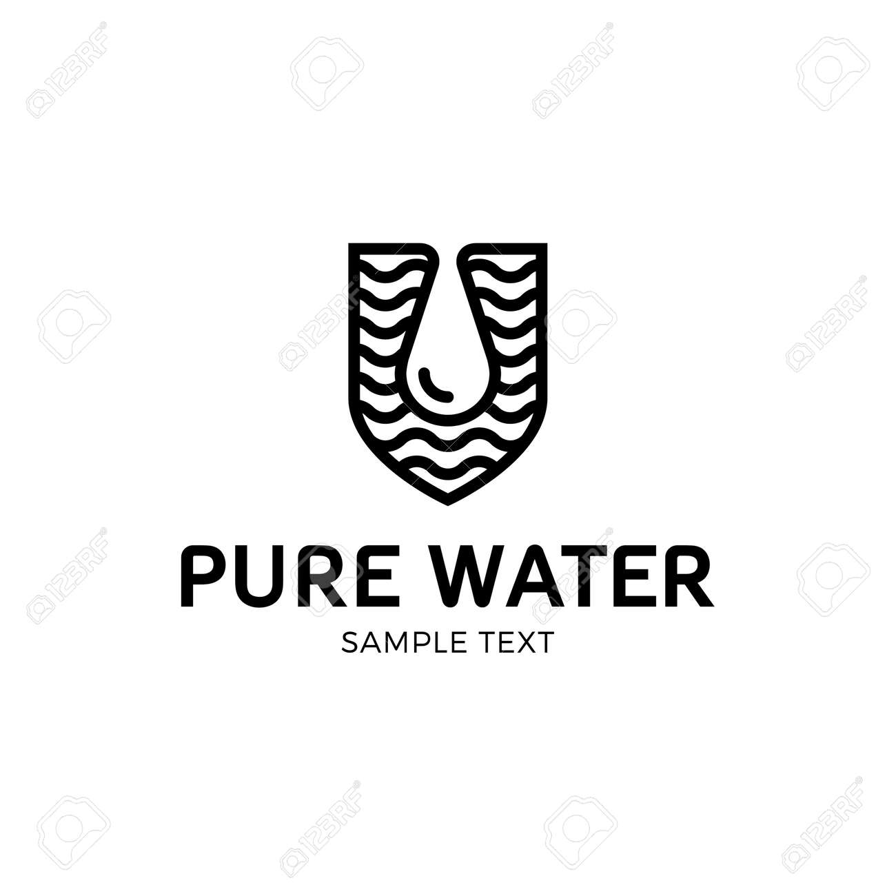 Pure Water Logo Vector Template. Eco Drop Logotype Icon In Shield ...